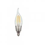 3.5W LED CA11 Flame Tip Candelabra Filament Bulb, 2700K, Clear