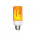 5W LED T15 Flame Bulb, E26 Base, 400 lm, 1300K, Orange/Yellow