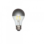 6.5W LED A19 Silver Crown Filament Bulb, 2700K, Dimmable