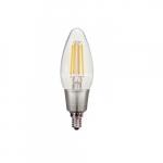 2.5W LED C11 Candelabra Bulb, 2700K, Clear, 466 Lumens
