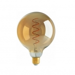 4W LED G40 Decorative Globe Bulb, Spiral Filament, Antique Amber, 2000K