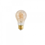 4.5W LED A19 Spiral Filament Bulb, Dim, E26, 250 lm, 2175K, Amber