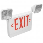 LED Emergency Exit Combo w/Adjustable Square Heads, White Housing