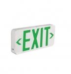 2W LED Exit Sign, Dual Circuit, Green, 120V-277V, White