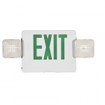 LED Emergency Exit Combo, White Housing w/Green Letters, Remote Capable