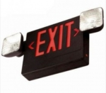 LED Emergency Exit Combo, Black Housing w/Red Letters