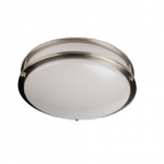 24W 14-in LED Flush Mount Fixture, Dimmable, 1700 lm, 120V, 5000K, Brushed Nickel