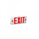 2.4W LED Exit Sign, Universal Face, AC Only, Red Text, 120V-277V, White