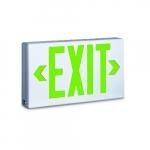 2.3W LED Exit Sign w/ Battery Backup, Universal, AC Only, Green, 120V-277V, White