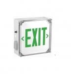3W LED Exit Sign w/ Battery Backup, Single-Face, Green, 120V-277V, White