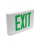 4.4W LED Exit Sign, Single-Face, Die Cast, AC Only, Green, 120V-277V, White