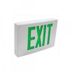4.4W LED Exit Sign, Double-Face, Die Cast, AC Only, Green, 120V-277V, White