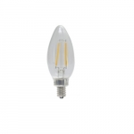 4W LED B11 Filament Bulb, Dimmable, E12, 120V, 5000K, Clear Glass