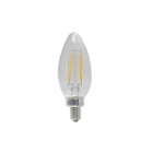 4W LED B11 Filament Bulb, Dimmable, E12, 120V, 5000K, Frosted Glass