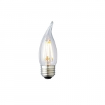 3W LED F11 Filament Bulb, Dimmable, E26, 120V, Clear Glass, 75 lm/W, 2200K