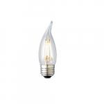 3W LED F11 Filament Bulb, Dimmable, E26, 120V, Clear Glass, 5000K