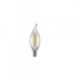 4W LED F11 Filament Bulb, Dimmable, E12, 120V, Clear Glass, 5000K