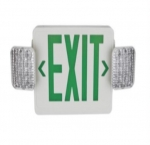 LED Emergency Exit Combo, White Housing w/Green Letters