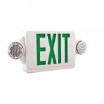 LED Emergency Exit Combo, Bug Eyes, White Housing w/Green Letters