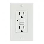 15 Amp GFCI Outlet, Tamper Resistant, White