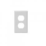 1-Gang Duplex Receptacle Wall Plate, Plastic, Standard, White