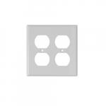 2-Gang Duplex Receptacle Wall Plate, Plastic, Standard, White