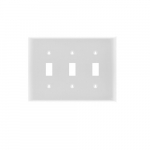 3-Gang Toggle Switch Wall Plate, Plastic, Standard, White