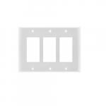 3-Gang Rocker Switch Wall Plate, Plastic, Standard, White