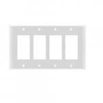 4-Gang Rocker Switch Wall Plate, Plastic, Standard, White