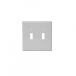 2-Gang Toggle Switch Wall Plate, Plastic, Standard, White