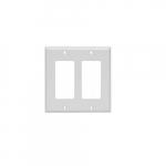 2-Gang Rocker Switch Wall Plate, Plastic, Standard, White