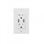 20 Amp Duplex Receptacle, USB Charger & Tamper Resistant, White
