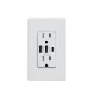 15 Amp Duplex Receptacle, Type A & C USB, Tamper Resistant, White
