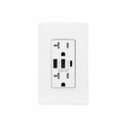 20 Amp Duplex Receptacle, Type A & C USB, Tamper Resistant, White