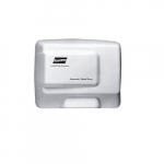 1500W Automatic Electric Aire Hand Dryer, 120V, Aluminum, White