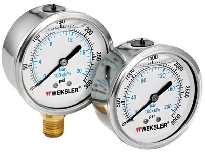 2 [1/2]'' 0/300 PSI Liquid Filled Gauges w/Stainless Steel Case