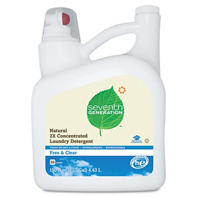 Seventh Generation 22803 Free And Clear Natural 2X Concentrate Laundry Liquid, Unscented