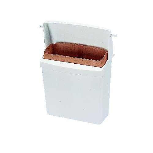 White Plastic Wall-Mount Receptacle w/ Liner Bags