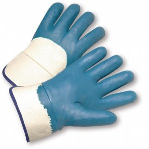 Size Medium Heavyweight Nitrile Palm Coated Gloves with Safety Cuff