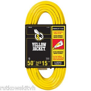 50FT Extension Cord, 3 Conductor, Yellow