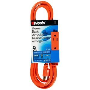 9FT, Triple Outlet Extension Cord, Orange