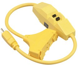 2-in Right Angle GFCI Extension Cord with Molded Tri-Source