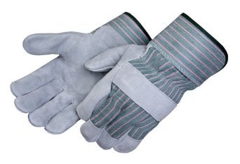 Large Gray Leather Palm Gloves