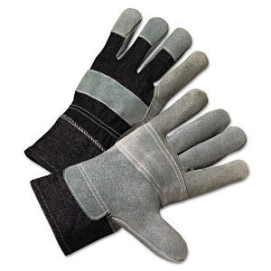 Large Pearl Gray Leather Palm Gloves