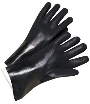Rough Black Chemical Resistant Pvc Coated Gloves 7400