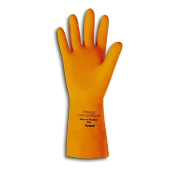 "13"" 30 MIL Large Orange Natural Rubber Latex Gloves"
