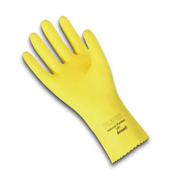 SZ 8 Yellow Fishscale Natural Rubber Latex Gloves