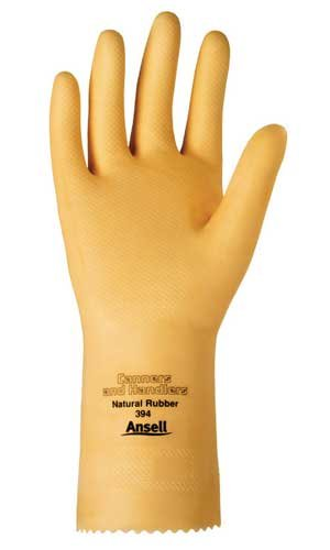 Size 9 Pinked Unlined Latex Gloves