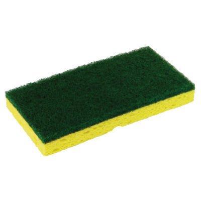 Yellow and Green, Medium-Duty Scrubber Sponge-3.125 x 6.25