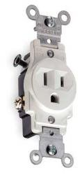 15 Amp Tamper Resistant (TR) Single Receptacle Outlet, White